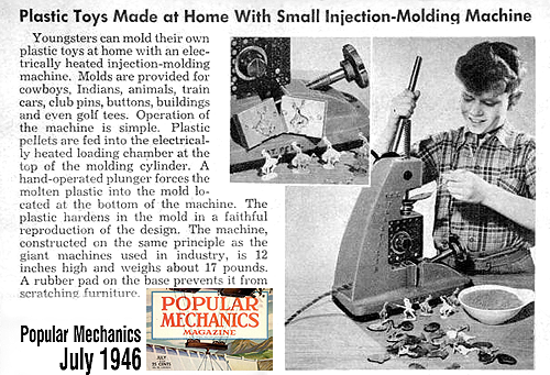 A toy injection molding machine from 1946
